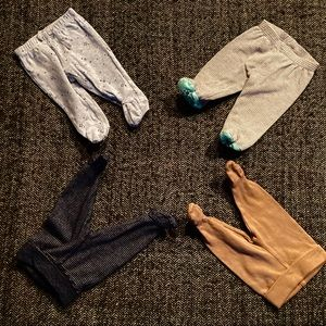 Mixed brands lot of footed pants 0-1m and …